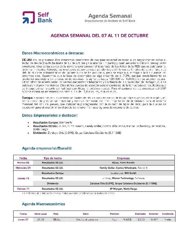 Agenda semanal (del 7 al 11 de octubre)