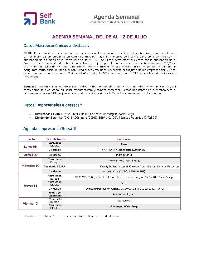 Agenda semanal (del 8 al 12 de julio)