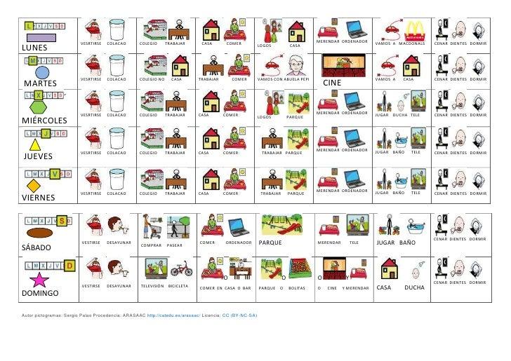 Agenda semanal pictogramas y cuadrante para calendario
