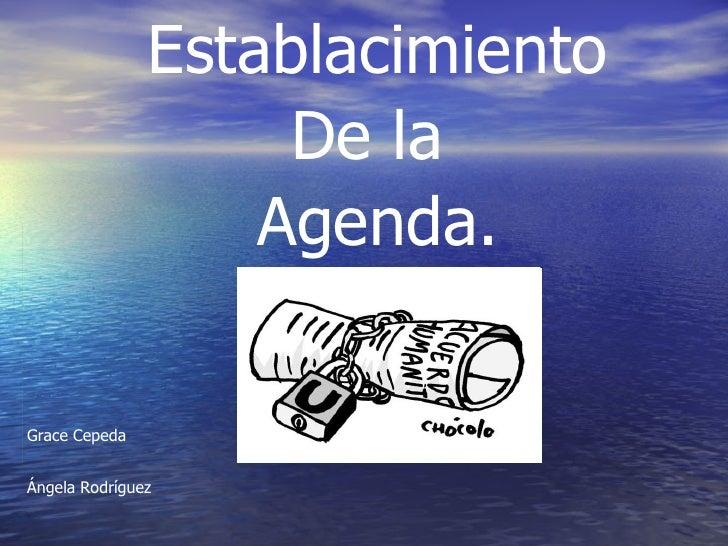 Establacimiento De la  Agenda. Grace Cepeda Ángela Rodríguez