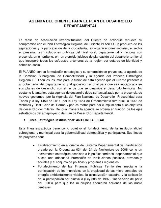 AGENDA DEL ORIENTE PARA EL PLAN DE DESARROLLO DEPARTAMENTAL La Mesa de Articulación Interinstitucional del Oriente de Anti...