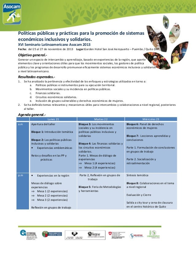 Políticas públicas y prácticas para la promoción de sistemas económicos inclusivos y solidarios. XVI Seminario Latinoameri...