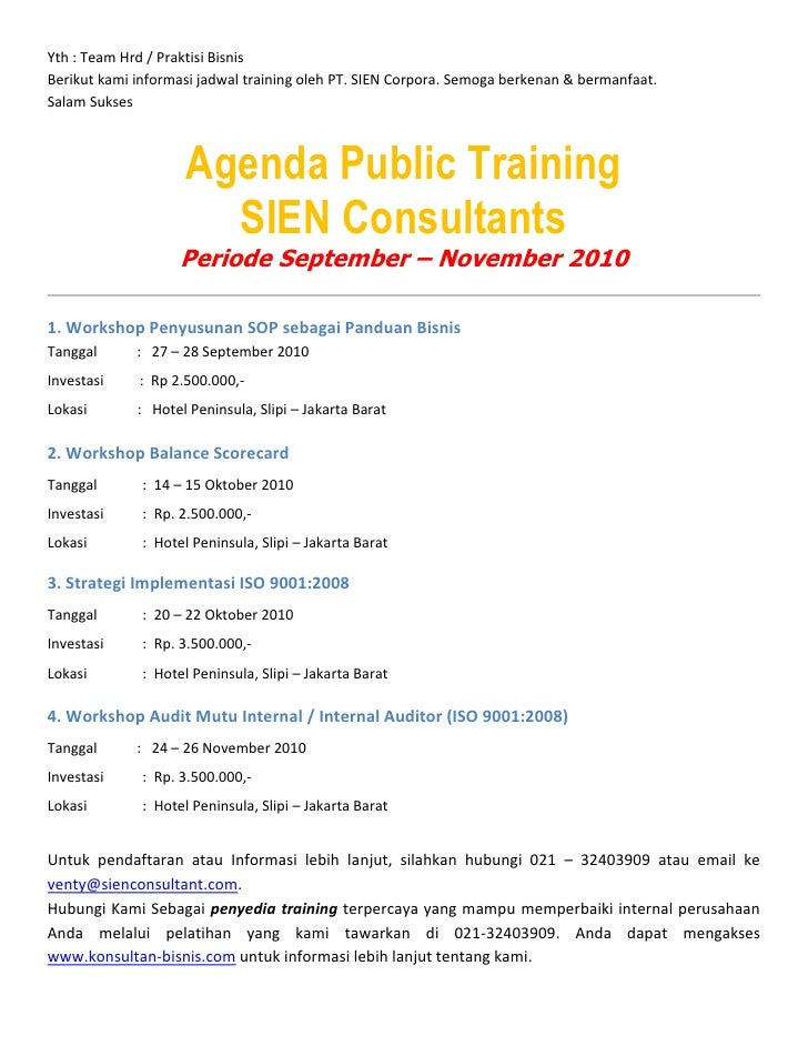 Agenda training september    desember