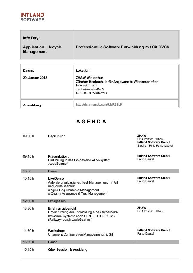 Info Day:Application Lifecycle                Professionelle Software Entwicklung mit Git DVCSManagementDatum:            ...