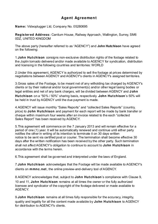 Agent agreement john hutchison revised
