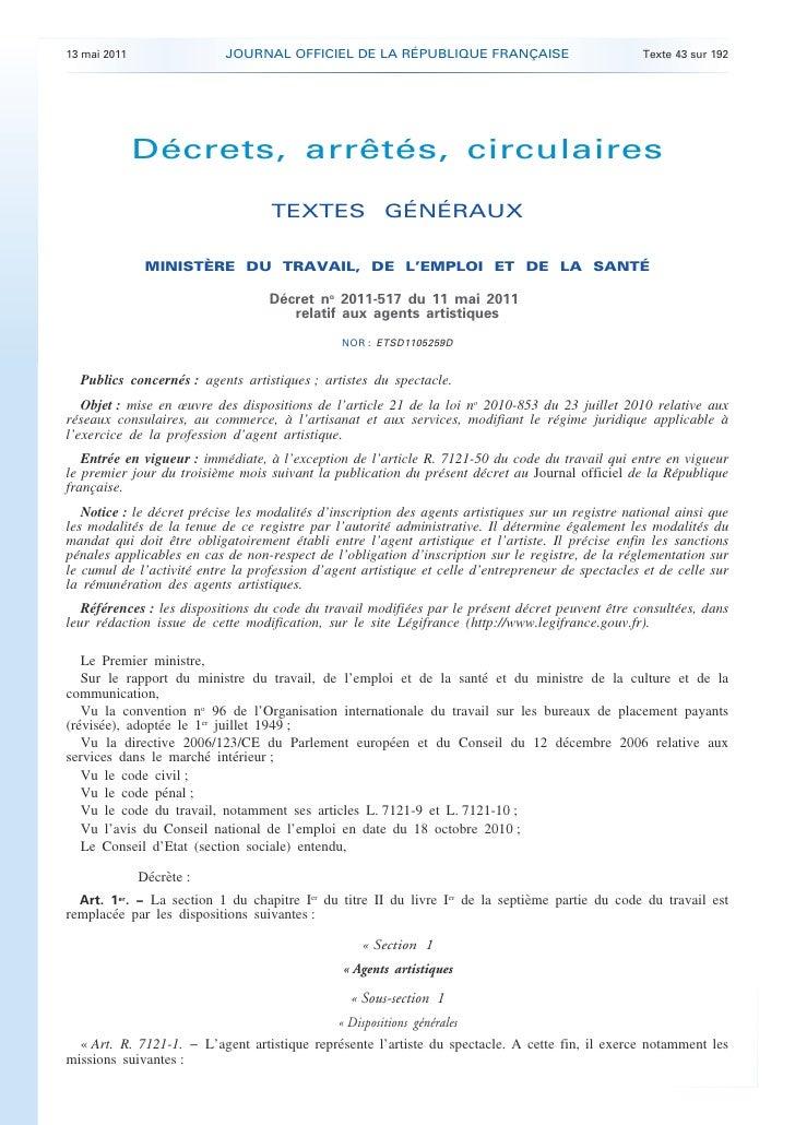 Agent artistique decret n 2011 517-du_11_mai_2011