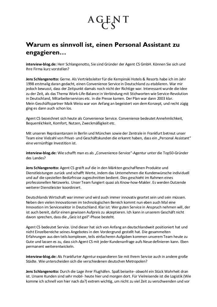 Warum es sinnvoll ist, einen Personal Assistant zuengagieren…interview-blog.de: Herr Schlangenotto, Sie sind Gründer der A...