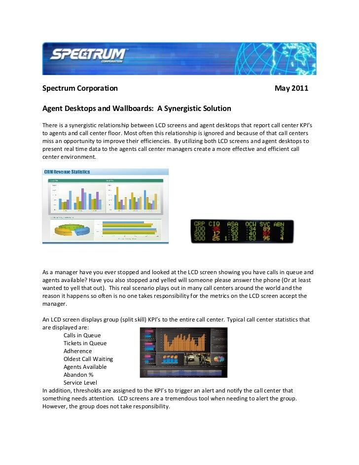 Spectrum Corporation                                                                            May 2011Agent Desktops and...