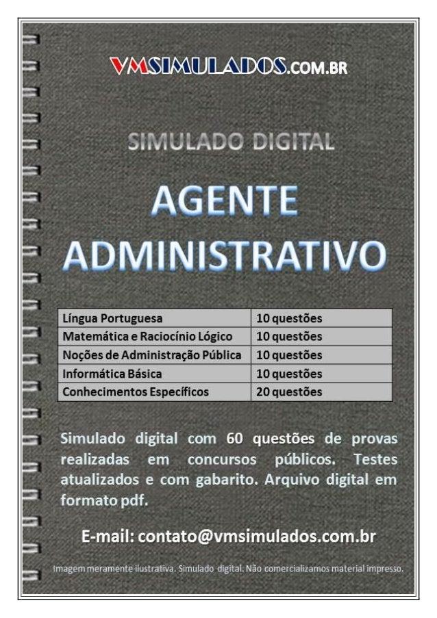 AGENTE ADMINISTRATIVO - SIMULADO DIGITAL PARA CONCURSO PÚBLICO