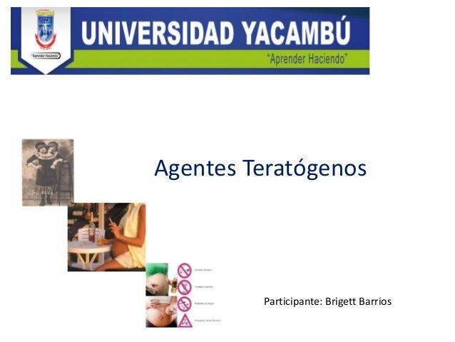 Participante: Brigett Barrios Agentes Teratógenos