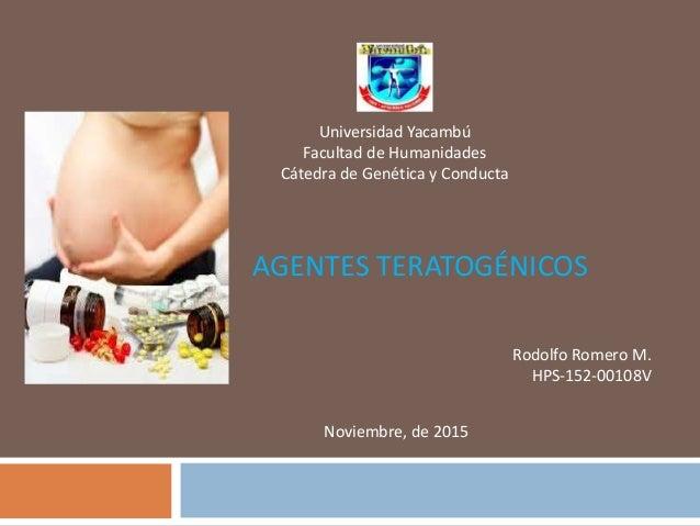 AGENTES TERATOGÉNICOS Universidad Yacambú Facultad de Humanidades Cátedra de Genética y Conducta Rodolfo Romero M. HPS-152...