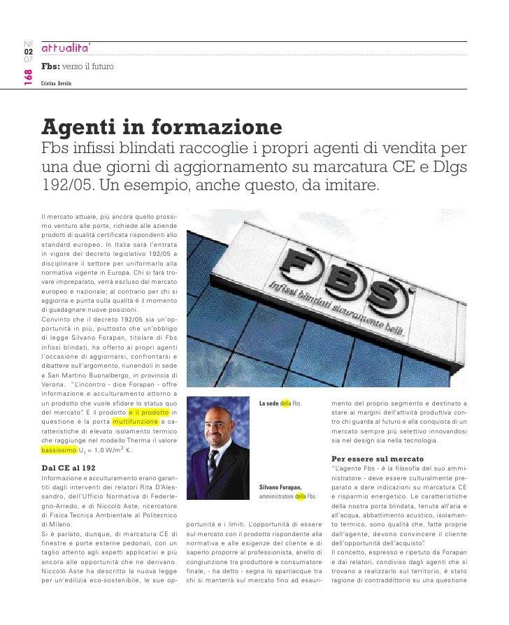 NF 02 07       Fbs: verso il futuro 168           Cristina Bovolin           Agenti in formazione       Fbs infissi blind...