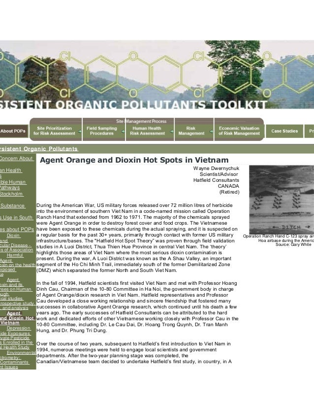 Agent orange and dioxin hot spots in vietnam   persistent organic pollutants (po ps) toolkit