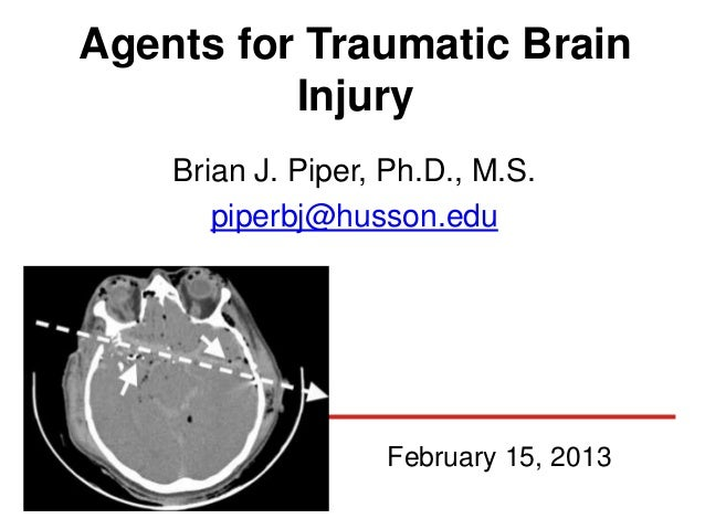 Agents for Traumatic Brain          Injury    Brian J. Piper, Ph.D., M.S.       piperbj@husson.edu                   Febru...