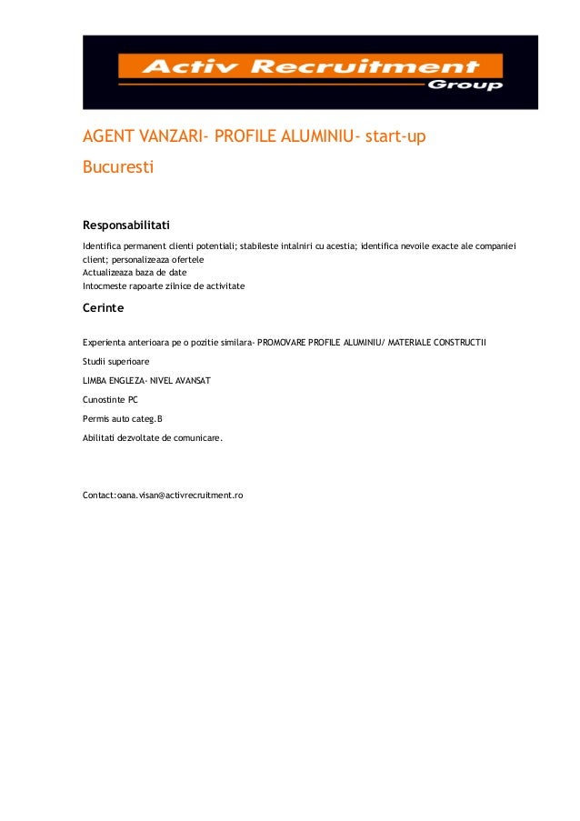 Agent vanzari  profile aluminiu- start-up