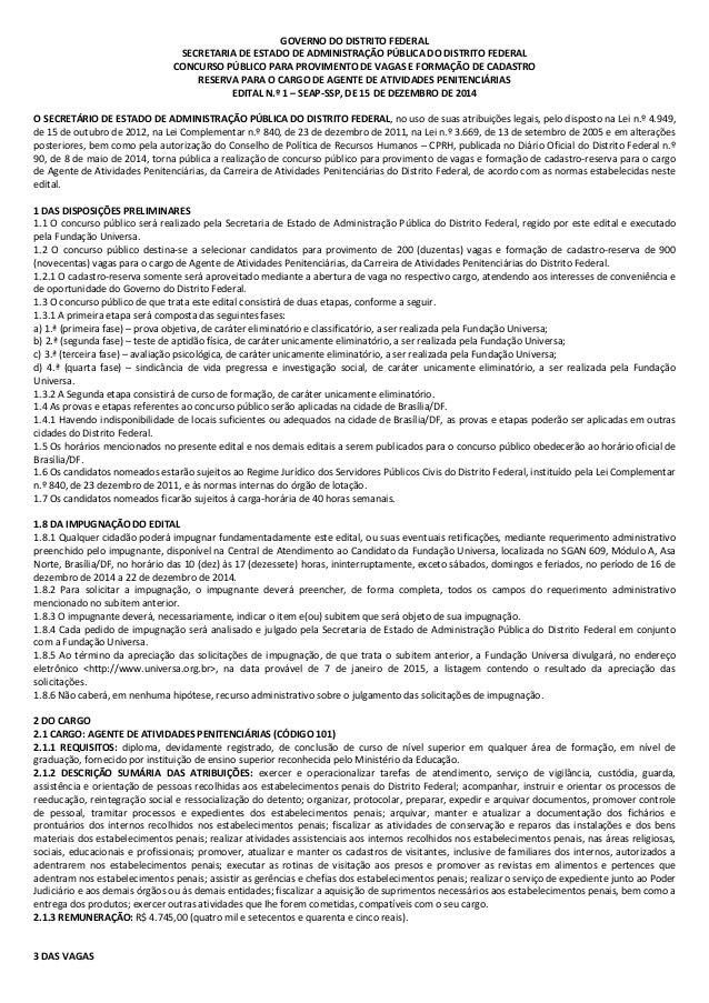 GOVERNO DO DISTRITO FEDERAL SECRETARIA DE ESTADO DE ADMINISTRAÇÃO PÚBLICA DO DISTRITO FEDERAL CONCURSO PÚBLICO PARA PROVIM...