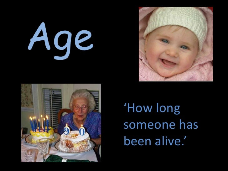 Age<br />'How long someone has been alive.'  <br />