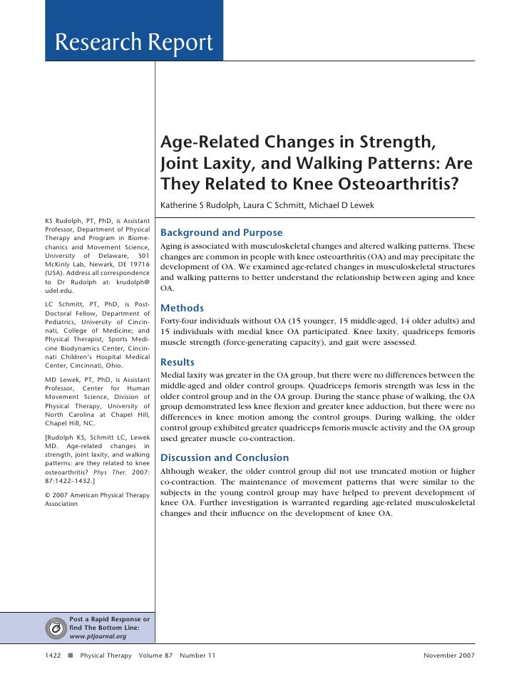 Age related change in strength, joint laxity, and walking patterns. are they related to knee oa