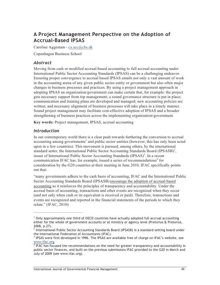 A Project Management Perspective on the Adoption ofAccrual-Based IPSASCaroline Aggestam - ca.acc@cbs.dkCopenhagen Business...