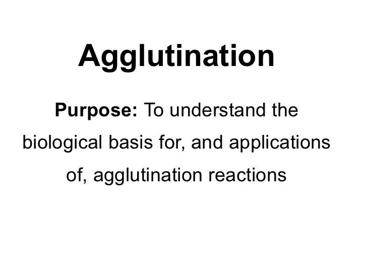 Agglutination   Purpose: To understand thebiological basis for, and applications     of, agglutination reactions
