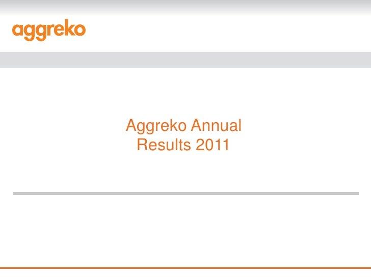 Aggreko Annual Results 2011
