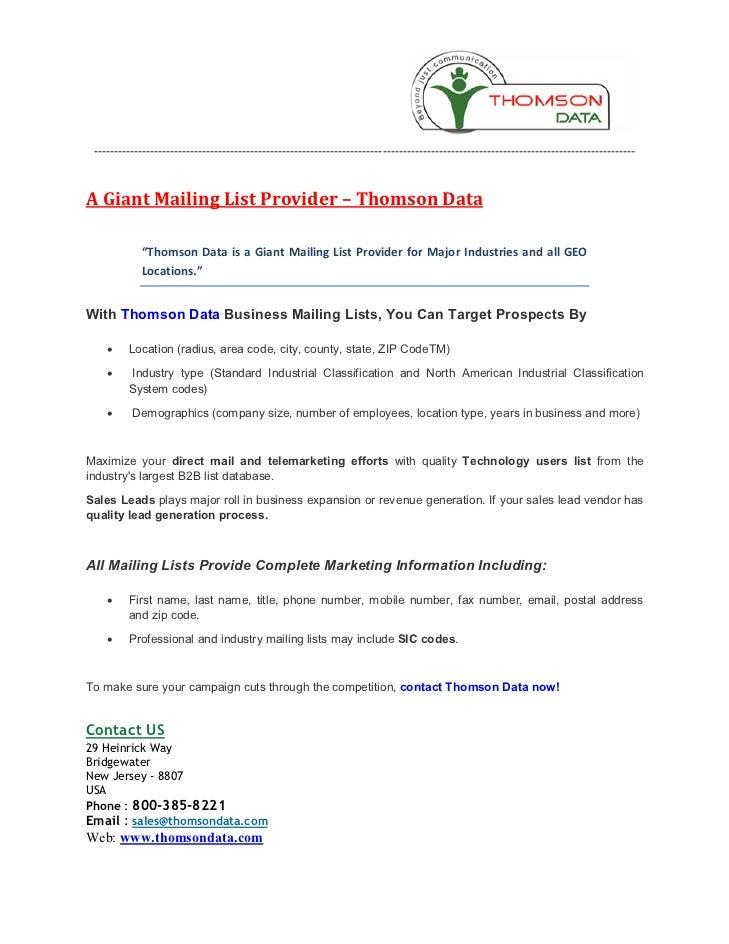 A Giant Mailing List Provider - Thomson Data
