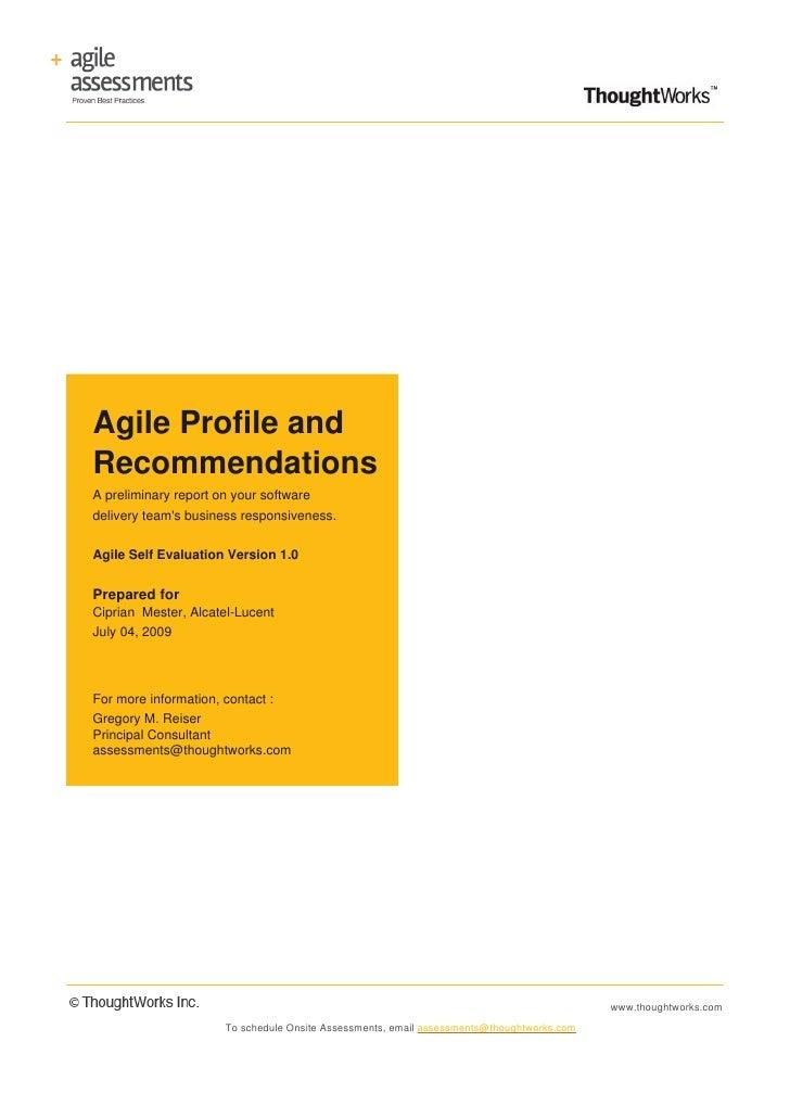 Agile Assessment Version 1.0