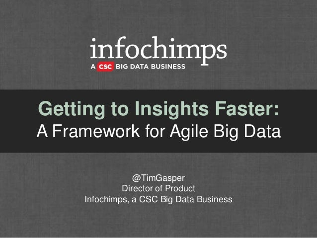 Getting to Insights Faster: A Framework for Agile Big Data @TimGasper Director of Product Infochimps, a CSC Big Data Busin...