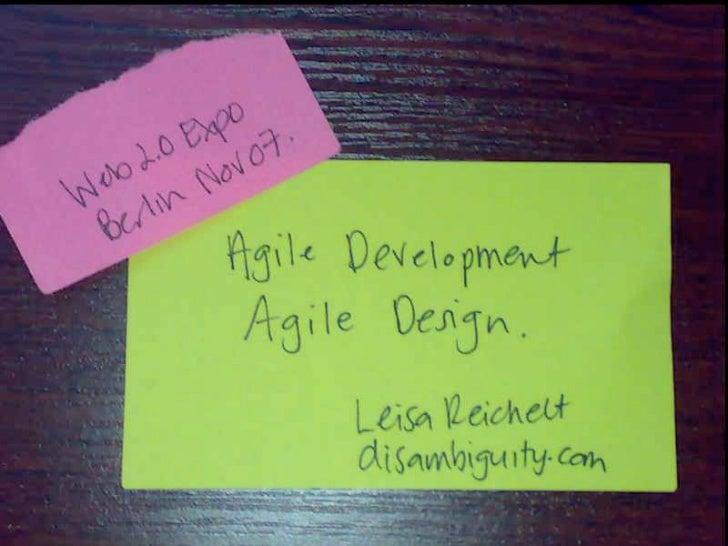Agile Development, Agile Design - Web 2.0 Expo Berlin