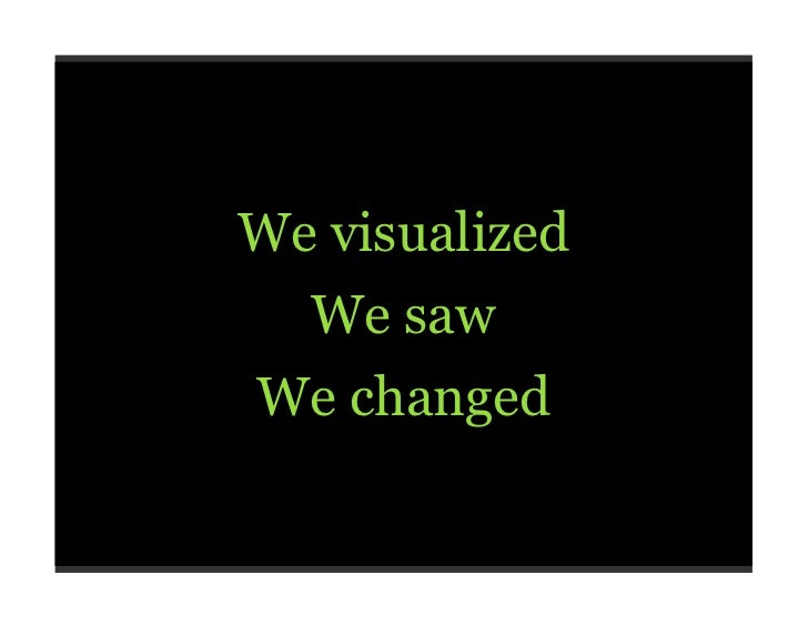 We visualized, we saw, we changed
