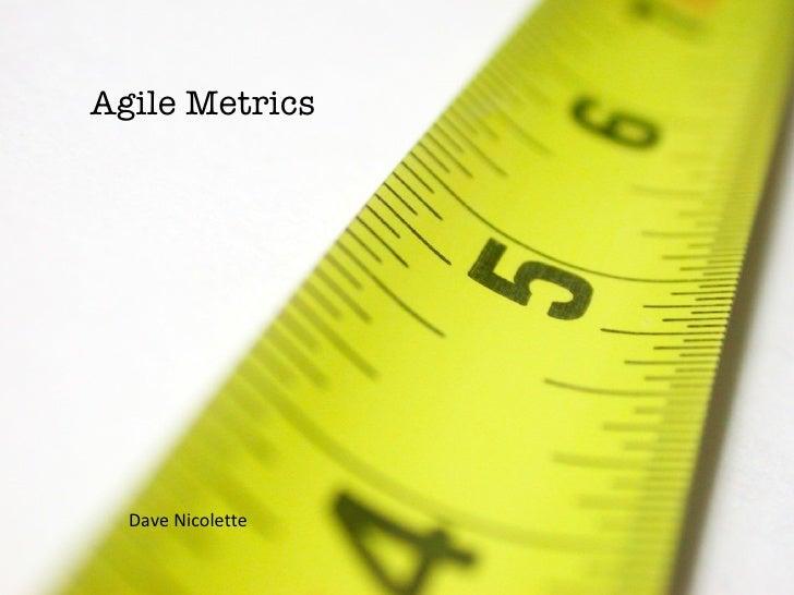Agile Metrics Dave Nicolette