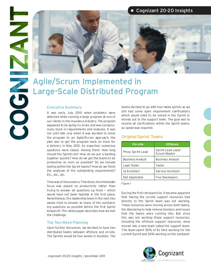 • Cognizant 20-20 InsightsAgile/Scrum Implemented inLarge-Scale Distributed Program   Executive Summary                   ...