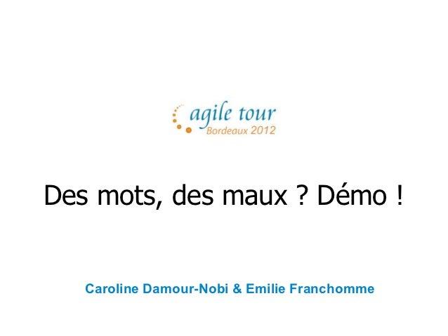 Agile Tour Bordeaux - Octobre 2012 - Des mots, des maux ? Demo !