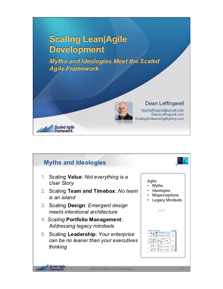 Scaling Lean|Agile   Development   Myths and Ideologies Meet the Scaled   Agile Framework                                 ...