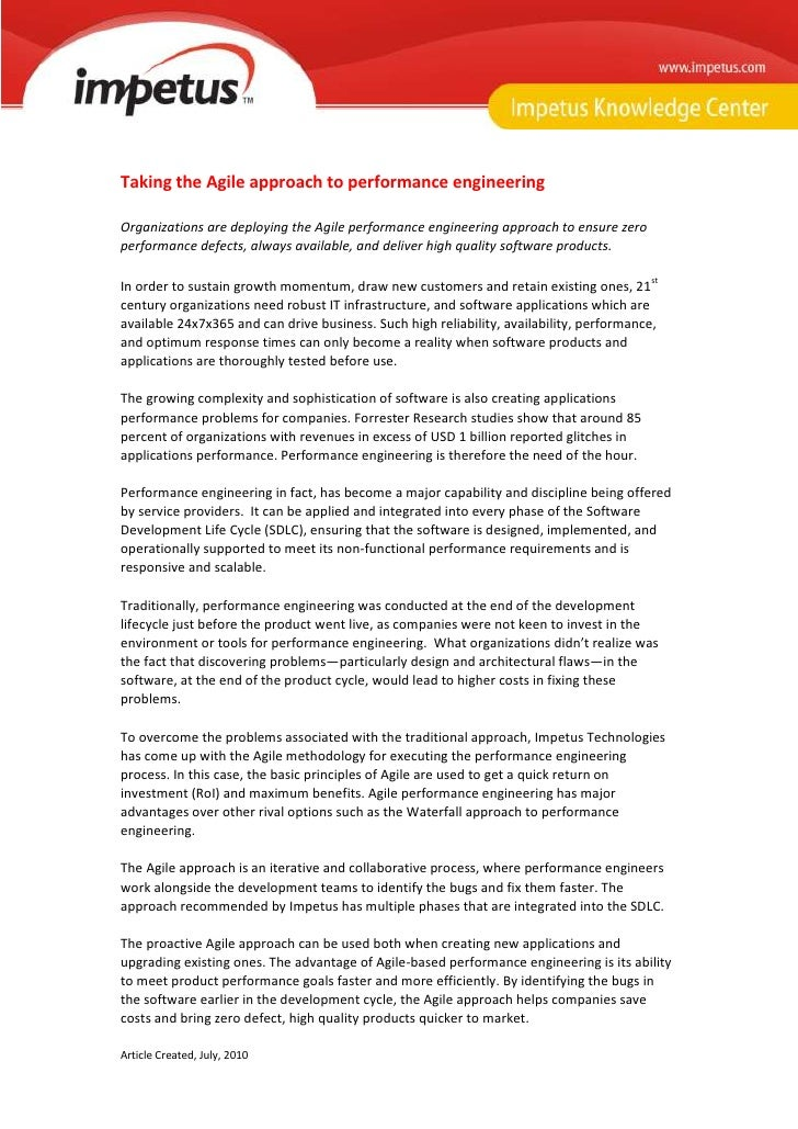Agile Approach to Performance Engineering