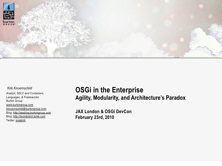 Kirk Knoernschild Analyst, SDLC and Containers,                                        OSGi in the Enterprise Languages, &...
