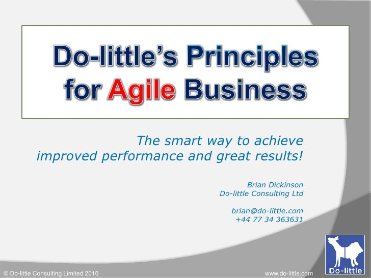 Do-little's Principlesfor Agile Business<br />The smart way to achieve <br />improved performance and great results!<br />...