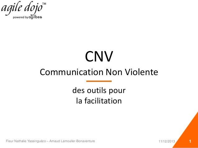 CNV Communication Non Violente des outils pour la facilitation Fleur Nathalie Yassinguézo – Arnaud Lamouller-Bonaventure 1...