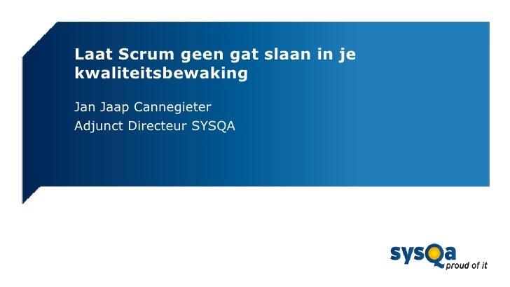 Laat Scrum geen gat slaan in jekwaliteitsbewakingJan Jaap CannegieterAdjunct Directeur SYSQA