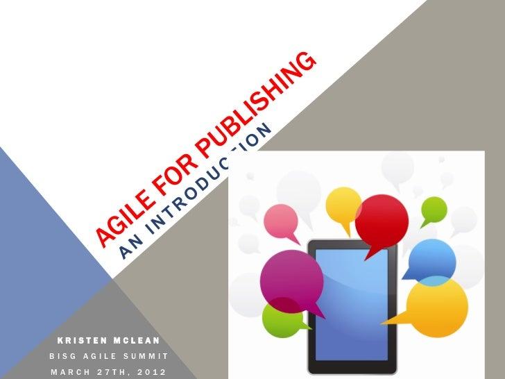 Kristen McLean: Agile for Publishing - Intro