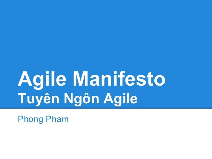 Tuyên Ngôn Agile - Agile manifesto