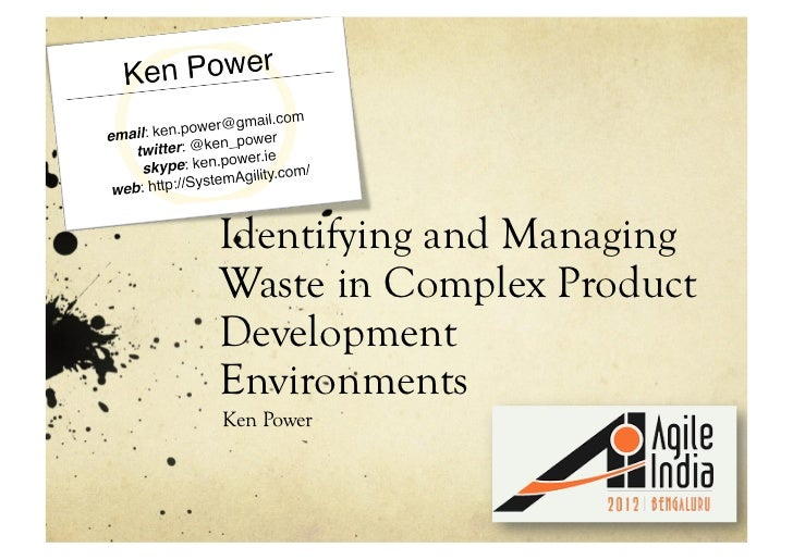 Identifying and Managing Waste in Complex Product Development Environments