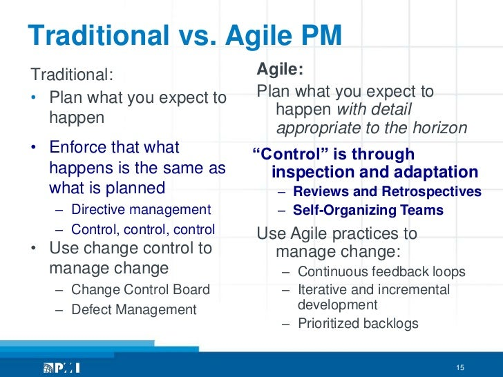 Agile pmi and pmbok for Agile vs traditional methodologies