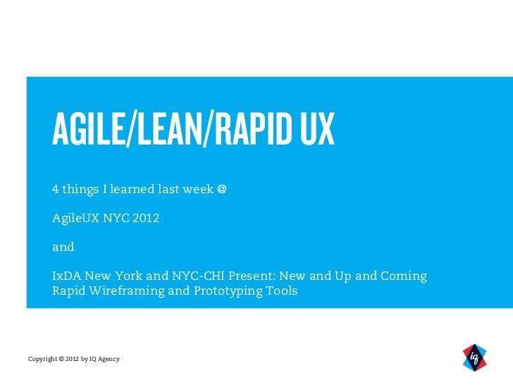 Agile/Lean/Rapid UX