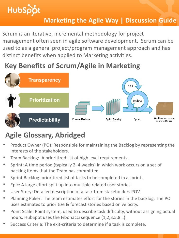 Marketing the Agile Way | Discussion GuideScrum is an iterative, incremental methodology for projectmanagement often seen ...