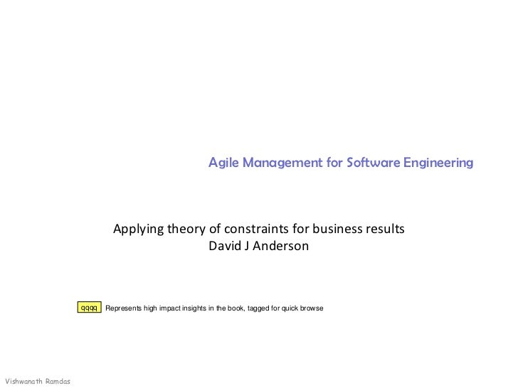 Precis Book Agile mgmt software engineering david j andreson summary viramdas 200911 plain