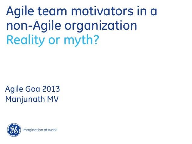 Agile team motivators in a non-Agile organization Reality or myth? Agile Goa 2013 Manjunath MV