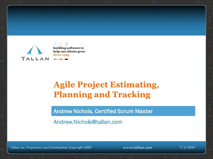 Agile Planning, Estimation And Tracking