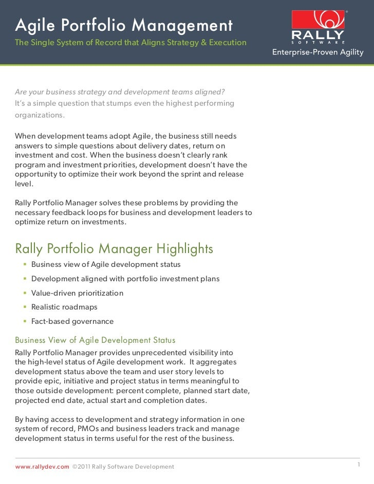 Agile Portfolio ManagementThe Single System of Record that Aligns Strategy & ExecutionAre your business strategy and devel...