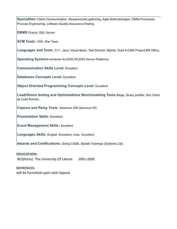 agile testing resume